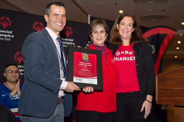 Foundation Director Ann Costello (c) and Special Olympics NY President Stacey Hensterman (r) Presented the Award and Saturday December 8th at Jacob K. Javits Center in NYC -- Dr. Caroci Is One of Only 109 Globally to be Honored with this Year's Golisano Award