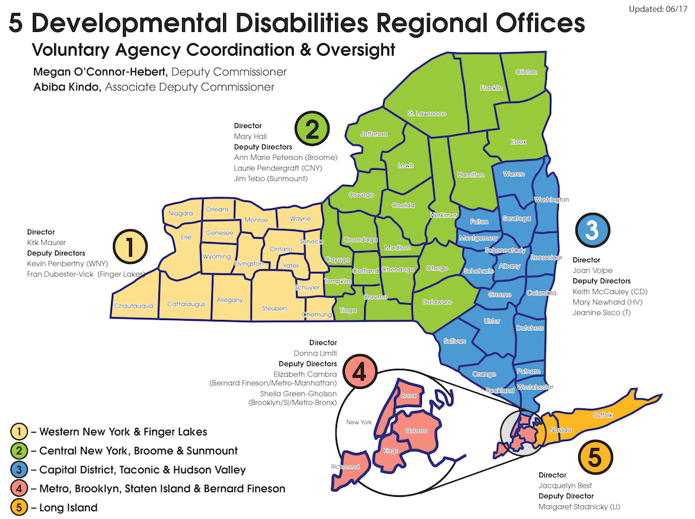 New York state 5 developmental disabilities regional Offices Map
